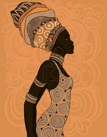 Illustration for Pretty African American woman in traditional turban. Profile view - Royalty Free Image