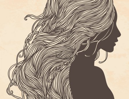 Illustration for Beauty Salon: Portrait of pretty young woman in profile view with long beautiful hair. Vector illustration. - Royalty Free Image