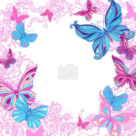 Illustration for Ornate frame with butterflies and flowers - Royalty Free Image
