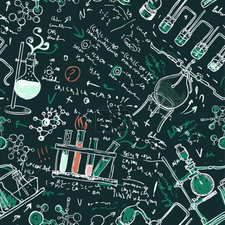 Illustration for Old chemistry laboratory seamless pattern on dark green school board. Vector background - Royalty Free Image