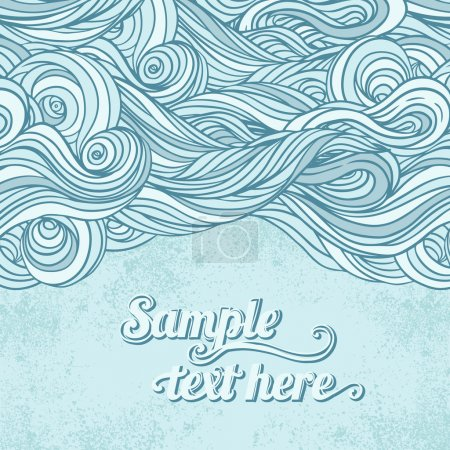 Illustration for Blue abstract hand drawn pattern, waves background - Royalty Free Image