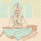 Fairy tale sultan: Arab men in oriental costume enjoying east sweets