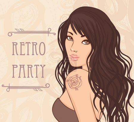 Illustration pour Design d'invitation de fête rétro (dame glamour avec tatouage rose sur l'épaule). Illustration vectorielle . - image libre de droit