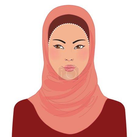 Muslim oriental beautiful girl in hijab