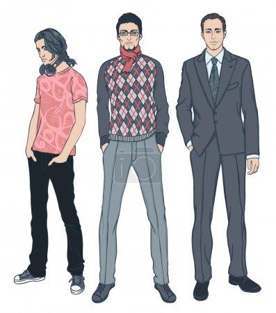 Illustration pour Ensemble d'illustrations vectorielles de trois hommes d'âges différents - image libre de droit