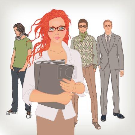 Illustration pour Ressources humaines. Le gestionnaire d'embauche choisit l'employé. Illustration vectorielle . - image libre de droit