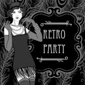 Flapper girl set: Retro party invitation design in 20's style