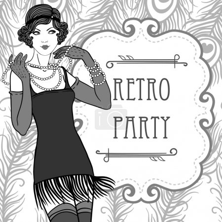 Flapper retro party invitation design