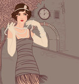 Flapper girls set: vintage woman in1920s style dresses standing on the street of old town
