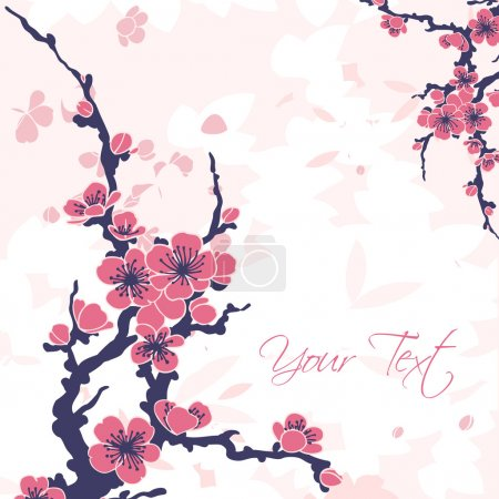 Illustration for Abstract romantic vector floral background with sakura branch - Royalty Free Image