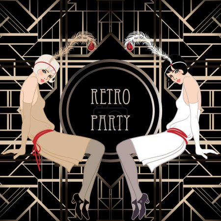 Illustration pour Fille de clapet : conception d'invitation partie retro. illustration vectorielle. style grand gatsby. - image libre de droit