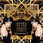 Flapper girl: Retro party invitation design. Vecto...