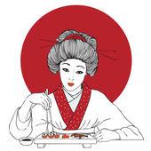 Traditional japanese pretty girl enjoy sushi