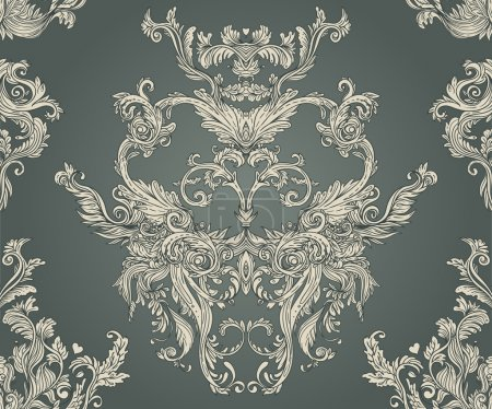 Illustration for Seamless vintage background baroque pattern - Royalty Free Image