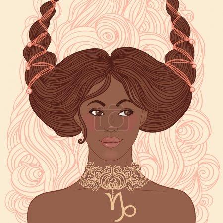 Illustration for Zodiac beautiful girls set (African American version). Capricorn. - Royalty Free Image