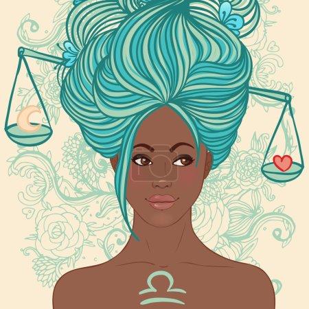 Illustration for Zodiac beautiful girls set (African American version). Libra. - Royalty Free Image