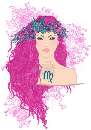 Illustration for Illustration of virgo astrological sign as a beautiful girl. Vector art. - Royalty Free Image