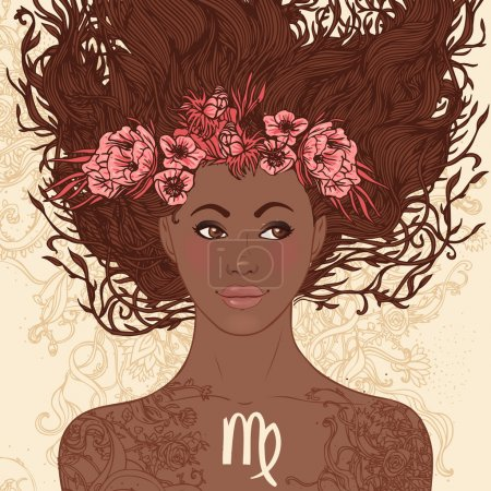 Illustration for Zodiac beautiful girls set (African American version). Virgo. - Royalty Free Image