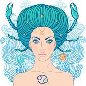 Illustration of cancer zodiac sign