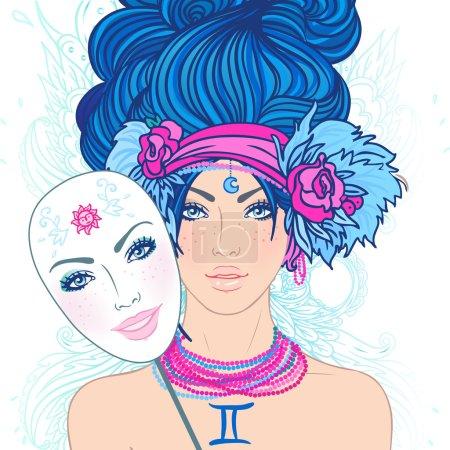 Illustration of gemini zodiac sign