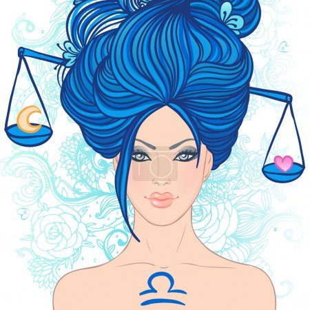 Illustration for Illustration of libra zodiac sign as a beautiful girl. Vector illustration.. Isolated on white. . Isolated on white. - Royalty Free Image