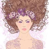 Virgo astrological sign as a beautiful girl