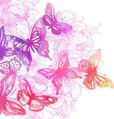 Farfalle e fiori dipinti con acquerelli