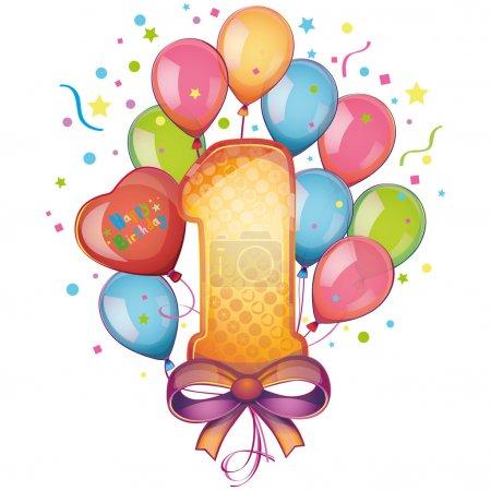 Illustration pour 1 joyeux anniversaire - image libre de droit