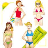 Set of girls in bikinis