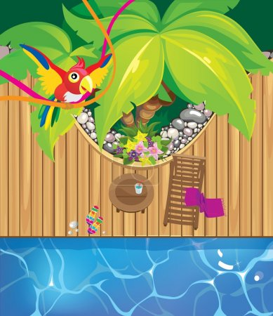 Illustration for Beach pool and a parrot. vector - Royalty Free Image