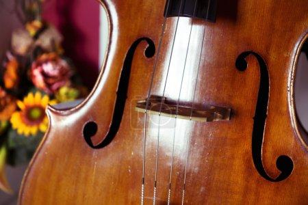 Photo pour Gros plan de contrebasse, instrument de musique en bois qui se joue avec un archet - image libre de droit