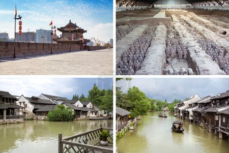 Collage. Beautiful landscapes and atmospheres of China