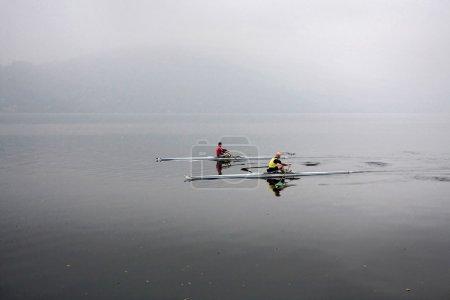 English rowers on Lake Orta