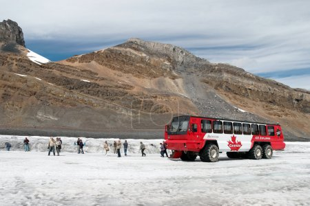 Brewster Ice Explorer parked on the Athabasca Glacier