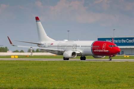 PRAGUE - APRIL 23: Norwegian Air Shuttle Boeing 737 take off from PRG on Apriil 23,2014. Norwegian is the third largest low-cost carrier in Europe. Operates with 64 aircraft and carried 16 million passengers.