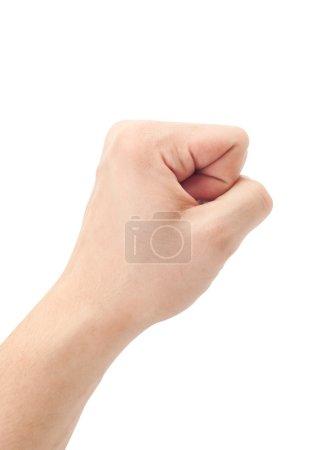 Photo pour Poing. geste de la main sur fond blanc - image libre de droit