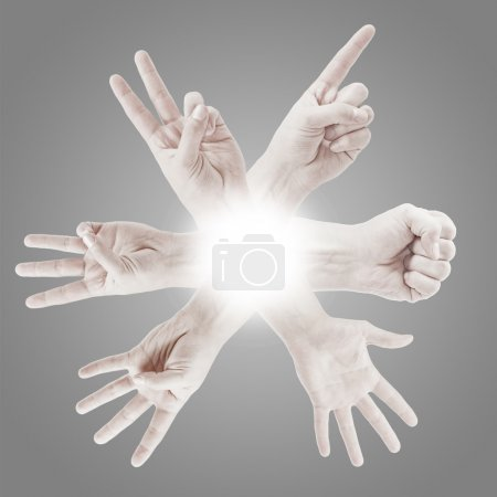 Photo for Counting man hands (0 to 5) isolated on grey background - Royalty Free Image