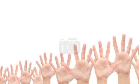 Photo pour Groupe des mains en l'air isolé sur fond blanc - image libre de droit