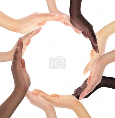 Conceptual symbol of multiracial human hands makin...