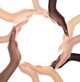 Konceptuální symbol mnohonárodnostní lidských rukou dělat kruh