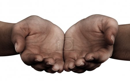 Photo pour Femme donnant mains isolées sur fond blanc - image libre de droit