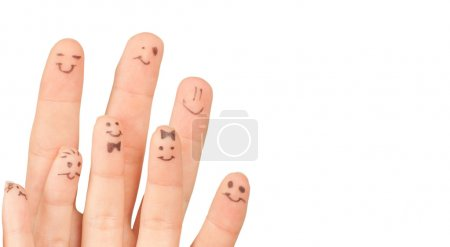 Photo pour Fingers Smile, avec un espace pour votre texte, isolé sur fond blanc - image libre de droit