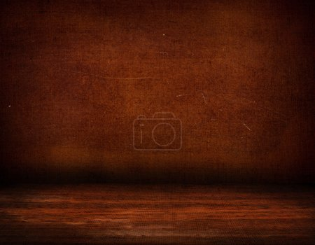 Old wall on wood floor background