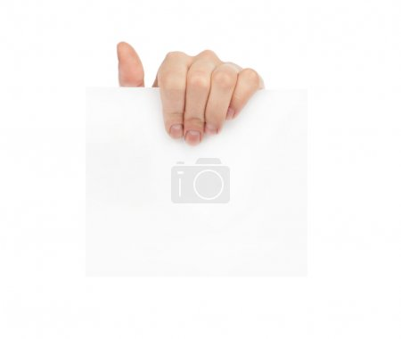 Photo for Advertising: Hand holding white empty paper - Royalty Free Image