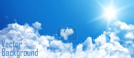 Illustration pour Ciel bleu avec nuages. Fond vectoriel. - image libre de droit