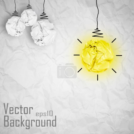Vector light bulb made of paper. Creative Concept Background.