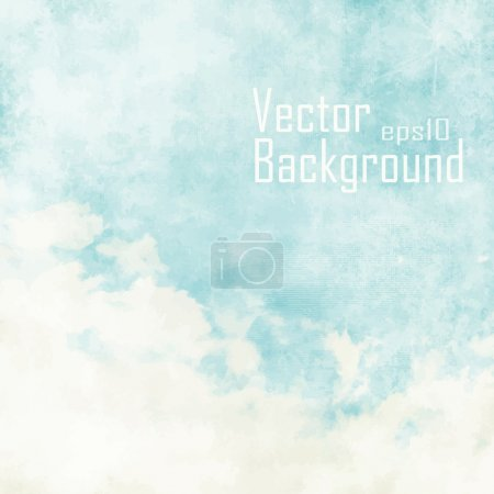 Illustration for Water color like cloud on old paper texture background. Vector. - Royalty Free Image