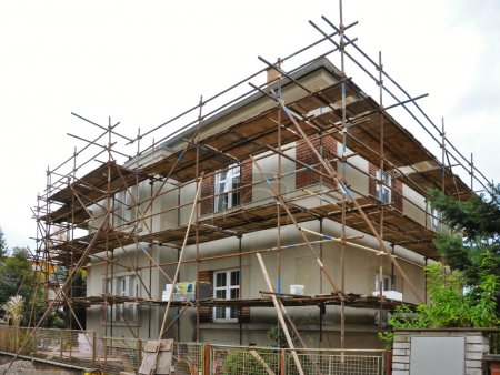 Scaffolding on the house