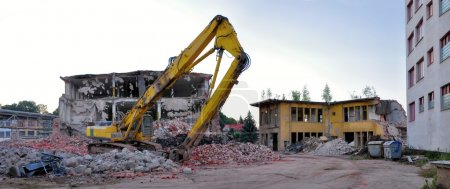 demolition of building, panorama