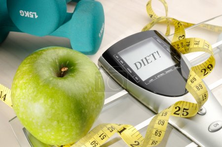 healthy apple and sport and diet message